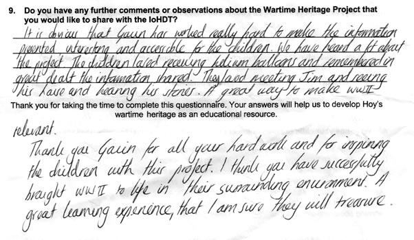 Figure 18 - Extract from North Walls School Project Parent Questionnaire