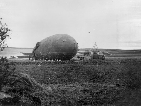 Grounded barrage balloons on Hoy. Orkney Library Archive ref. L5315-3