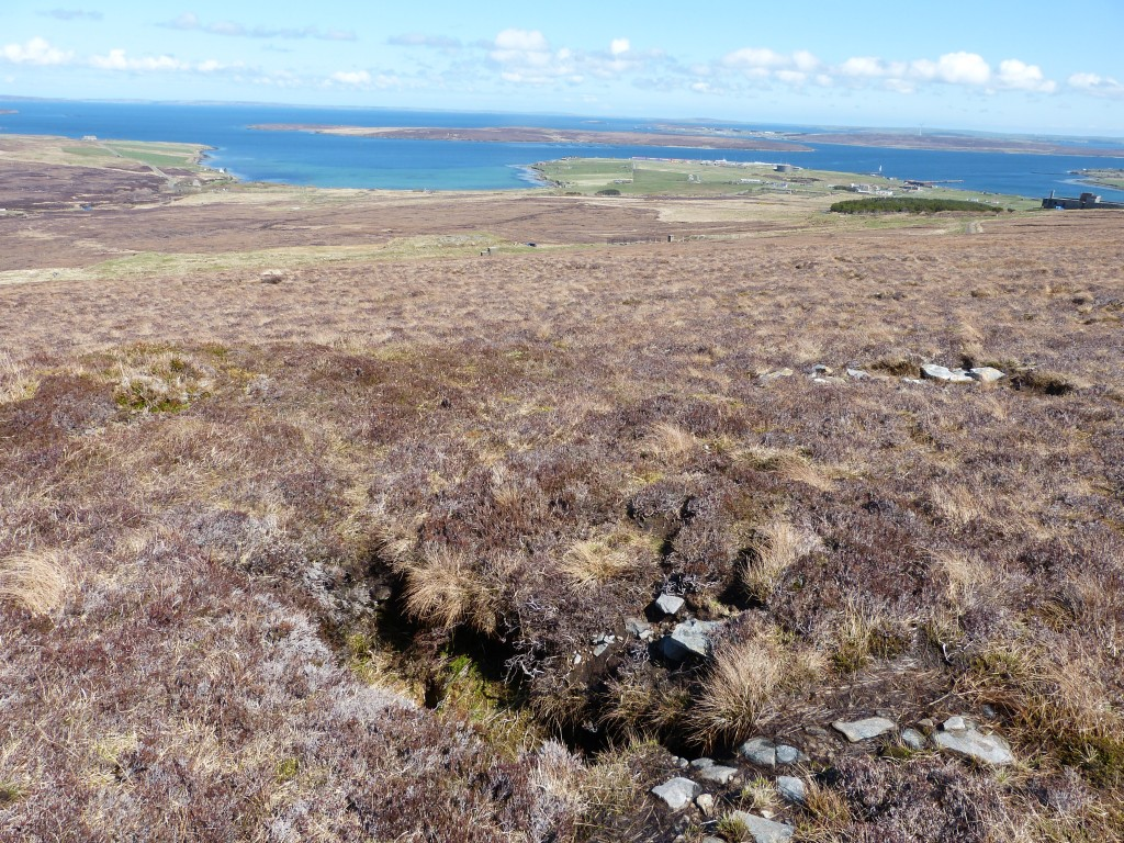 Some of the many trenches to be found on Wee Fea as part of the IoHDT Wartime Heritage Geocache Trail