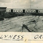 The boom slab, shed, and assembly area, at Lyness 1937-38. © Orkney Library & Archive, ref. D1-1096