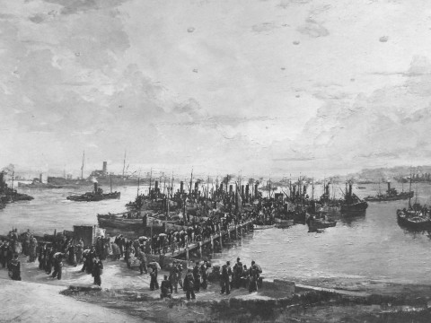 The landing of libertymen at Lyness North Pier. Painting by Charles Cundall ARA. © The National Archives, ref. ADM116/5790