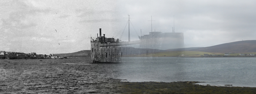 WWII Hoy Then & Now - HMS Exmouth in Longhope pan