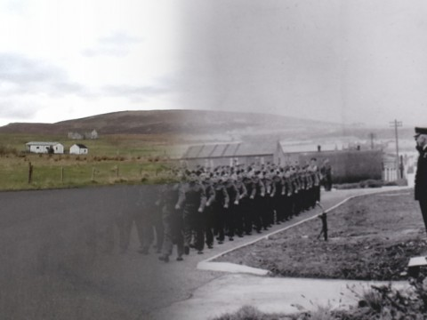 WWII Hoy Then & Now - Royal Marines on French Road, Lyness