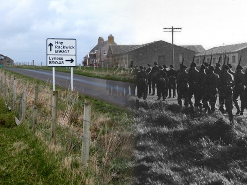 WWII Hoy Then & Now - The Royal Marines Marching Towards Haybrake